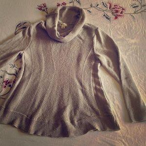 Wheat color Winter Cowl Neck Sweater
